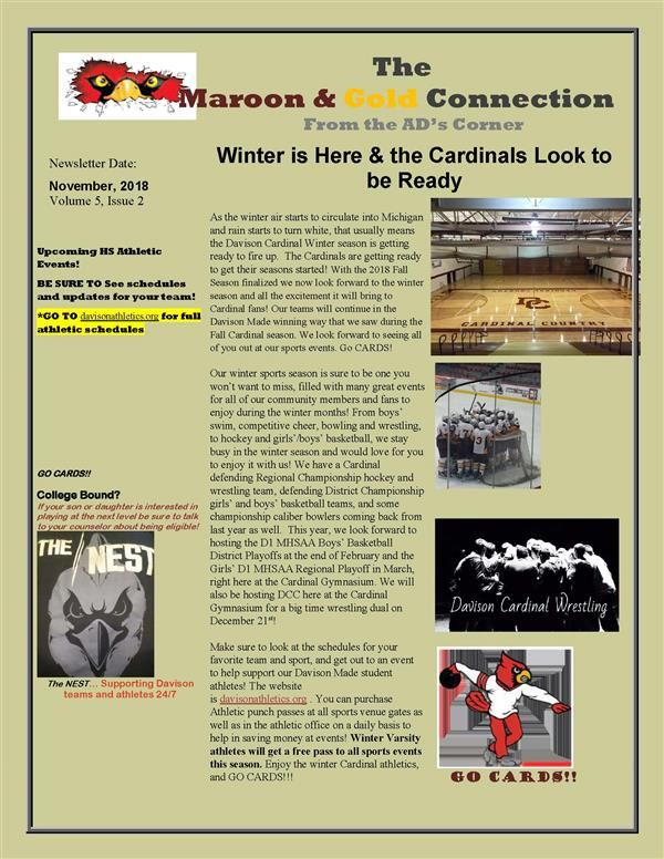 Get the scoop on the Winter sports season from Athletic Director Dave Beamer in his latest edition